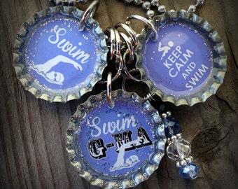 Swim Grandma Themed Bottle Cap Necklace