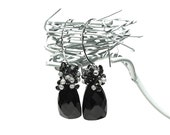 Midnight Black Spinel Dangle Earrings / Triangle Drops / Sterling Silver / Gemstone Teardrops / Geometric / Gifts For Her / OOAK