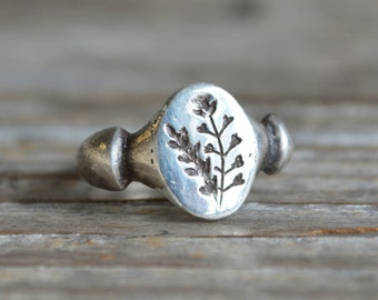 Shepherds Purse Botanical Ring, Botanical Jewelry, Sterling Silver Ring, Stacking Ring, Flower Ring, Promise Ring, Gold + Bronze Peg and Awl