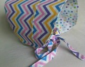 Toddler Sun Hat, BONNET, Sun Hat, Reversible Bonnet, Polka Dot Bonnet, Chevron, Polka Dots, Baby Bonnet, Pastel Colors, Baby Shower Gift