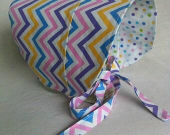 Toddler Sun Hat - BONNET - Sun Hat - Reversible Bonnet - Polka Dot Bonnet - Chevron - Polka Dots