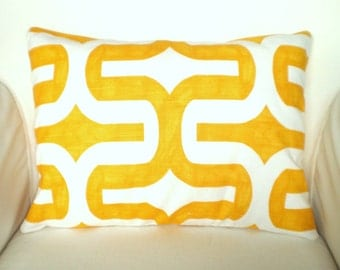 Yellow White Lumbar Pillow Cover, Decorative Pillow, Throw Pillow, Cushion Cover, Corn Yellow White Embrace, Geometric, 12 x 16 or 12 x 18