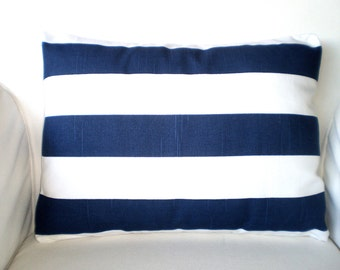 Lumbar Pillow Cover Decorative Throw Pillows Cushion Covers Navy White Stripe Couch Chair Bed Sofa Accent Pillow One 12 x 16 or 12 x 18