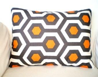 Orange Gray Lumbar Throw Pillow Cover, Cushion Cover, Pillow Case, Decorative Pillow, Orange Gray Cream Geometric Magna, 12 x 16