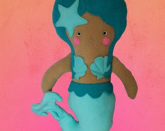 Teal Mermaid Plush Doll