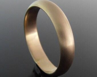 Half Round 14k Gold Band Ring, 14k Gold Ring, Gold Wedding Band, Gold Wedding Ring, Satin Finish