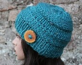 HAT knitted womens chunky turquoise,  super chunky hat, button hat, knitwear UK