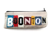 Boonton - Ransom Notes Zipper Pouch - Repurposed T-shirts and Vintage Floral Fabric - Boonton Zipper Pouch