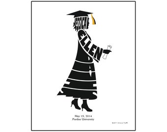 Personalized Female Graduate Print, Custom Graduation Gift, Silhouette Name Art