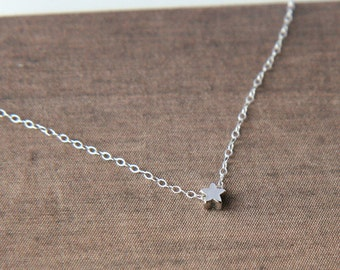 Star Necklace,Tiny Star Necklace,Silver Necklace,Simple Necklace,Minimal Necklace,Bridesmaid Gift
