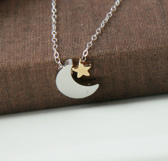 Silver Necklace,Sterling Silver Chain,Silver Moon Star,Moon Star Necklace,Silver Crescent Star,Dainty Necklace,Tiny Star Jewelry,Simple