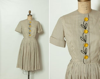 vintage 1950s striped dress with yellow buttercup buttons
