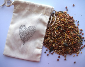 25 Bird seed filled muslin drawstring bags- hand stamped with xoxo heart