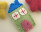 Felt hair clip -No slip -Wool felt -House -spring