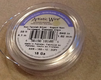 18ga Artistic wire non tarnish silver 20 feet