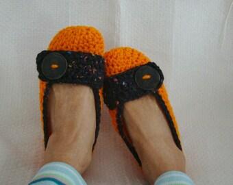 Crochet Slippers Womens Flats Orange and Black Spark