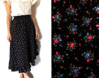 vintage skirt 70s black floral print ruffle salsa 1970s womens clothing size xs s extra small