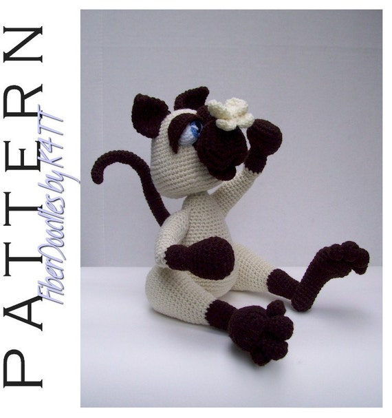 INSTANT DOWNLOAD : Sneeze the Siamese Kitty Crochet Pattern