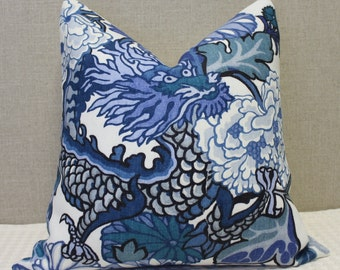"""Schumacher Chiang Mai Dragon in  Blue China - 20""""x20"""" - Pattern on the front"""