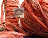 Sari Silk Recycled Ribbon in a Coral Flamingo Peach Blend