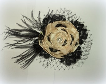 Wedding Champagne and Black Lace Flower Fascinator, Champagne Silk, Black French Net Lace, Ostrich,Bridal Hair Clip, Wedding
