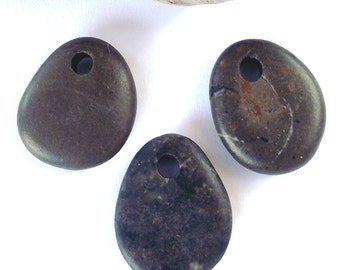 Mediterranean drilled beach pebbles.  Stone beads. Beach Rock Beads by Oceangifts.