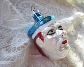 vintage glass ornament - SAILOR'S HEAD - blown glass, Poland, glitter accents