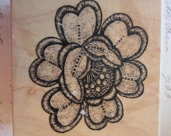 rubber stamp - embroidered flower, sewn, crewel - PSX G-3745