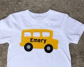 Preppy School Bus Monogram Vinyl Pressed Back-To-School Tshirt