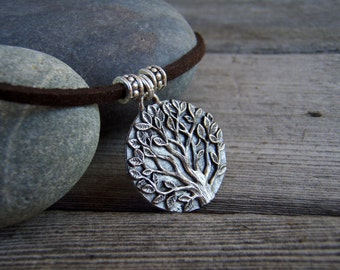 Tree of Life Necklace . Rustic Forest Medallion Pendant