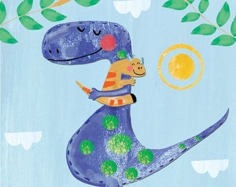 Dinosaurs Nursery Wall Decor, Whimical Children's Wall Art by Farida Zaman in Blue, Pink, Green, and Yellow, Dinosaur Wall Print