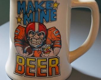 Vintage Football Beer Stein 1980s Superbowl Mug