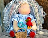 RESERVED DEPOSIT Waldorf Doll Birdwatcher Bleu & her little bird friend Ruby...13 Inches All Natural Hand spun Hand dyed Wool Art Yarn Hair
