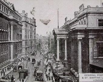 Antique Postcard - Post Office & St. Martins Le Grand, London, UK