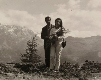 Vintage Black & White Photo - Young Couple in the Mountains