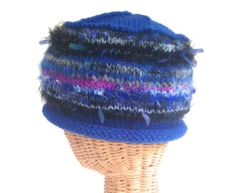 Cloche Knit Blue Wool Hat Rolled Brim Beanie Cap One Size Close Fitting Ready to Ship Boutique Multicolored  Novelty Fibers