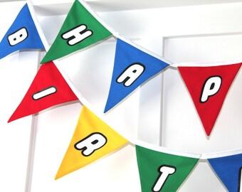 Lego Happy Birthday Fabric Bunting Banner