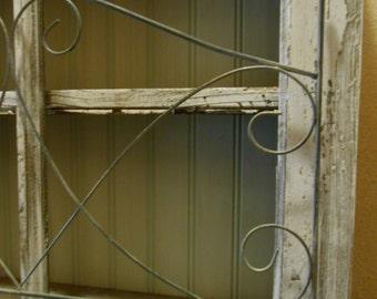 Window Cabinet Display Shelf, Wire Fence, Beadboard, Shabby Chic, Cottage