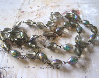 """Beaded Chain Rainbow Grey Oval 9mmx6mm on Silver, Gold and Antique Bronze Chain, 18"""" Strand"""