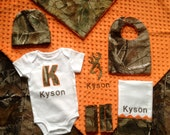 Personalized Baby Boy Real tree Homecoming Camo Mossy Oak 6 piece gift set bodysuite burp cloth hat bib blanket and car seat strap covers-