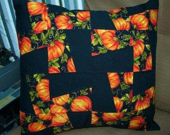 Fall Pumpkin Pillow, Decorative Toss Pillow, Accent Pillow, Throw Pillow, Pillowcase, Halloween Pillow cover - Fits 16x16 inch form