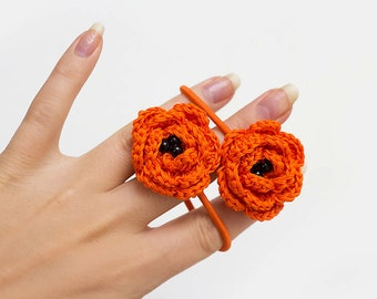 ORange crochet flower elastic hair ties - Set of 2