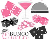 Bunco Night Cute Digital Clipart - Commercial Use Ok - Dice Clipart - Bunco Graphics, Pink Martini, Bunco Clipart