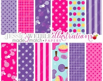 Girls Night Over Cute Digital Papers - Commercial Use OK - Slumber Party Papers, Pink and Purple Papers, Instant Download