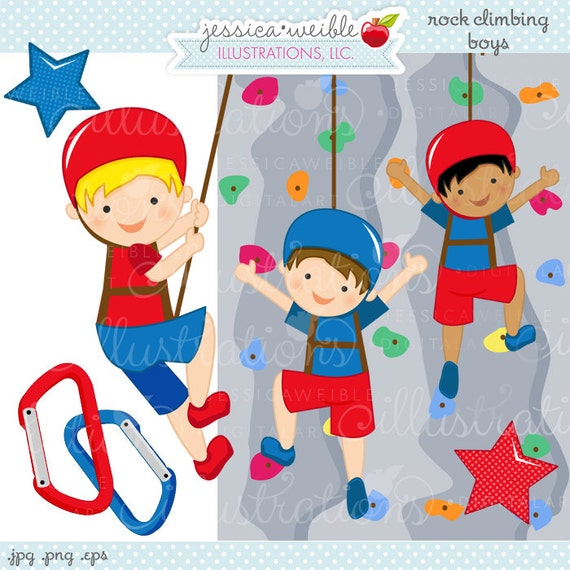 Rock Wall Climbing Boys Cute Digital Clipart - Commercial ...