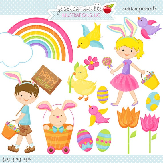 Easter Parade Cute Digital Clipart, Easter Graphics, Easter Clipart, Cute Easter Kids, Kids with Easter Bunny Ears, Digital Clip Art, Spring