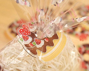 10 Clear Ties - Strawberry Choco Cake (1.8 x 1.8in)