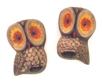 Vintage Pair of Painted Plaster Mini Owl Wall Hangings in Brown