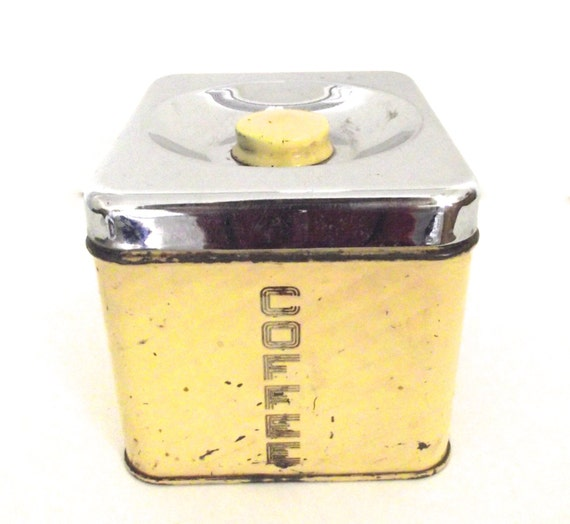 Lincoln BeautyWare Vintage Butter Yellow Coffee Canister