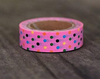 Pink Multi Polka Dot  -  Single Roll 10 mm